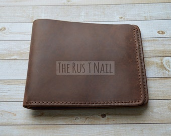 FREE SHIPPING - Genuine Leather Rugged Distressed Billfold - Distressed Wallet - Coffee
