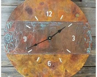 """Round Handcrafted Rainbow Patina Copper Wall Clock 15""""x15"""""""