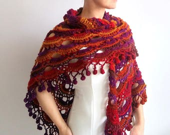Crochet boho shawl, multicolor shawl, red shawl, colorful shawl, violet yellow shawl, fringed, gift for her, fast shipping, READY TO SHIP.