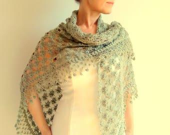 On sale, crochet green shawl, khaki green wrap, bridal shawl, winter wedding, lacy shawl,light green shawl,gift, fast shipping,ready to ship