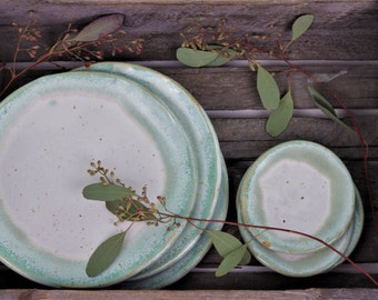Dish mint and white - rustic plates - housewarming gift - dinner party - production order