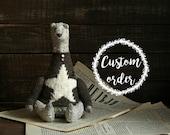 Custom order - Brown Teddy Bear - Artist Handmade Textile Toys - Stuffed Toys - Animals - 8,5 Inch