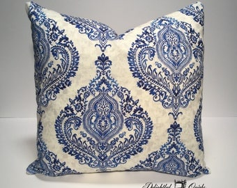 Paisley Pillow Cover, Blue and White Decorative Pillow, Throw Pillows, Envelope Pillow Cover, 16 Inch Pillow Cover, Envelope Cover, Pillow