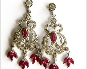 Ruby, Silver And White Stone Drop Earrings