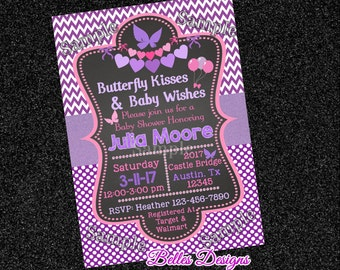 Butterfly Kisses, Baby Shower Invitation, Baby girl,Digital File, chevron, Chic Invitation, Purple Baby Shower, Butterfly themed baby shower