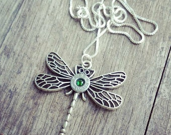 Dragonfly necklace w 9mm spent ammunition casing
