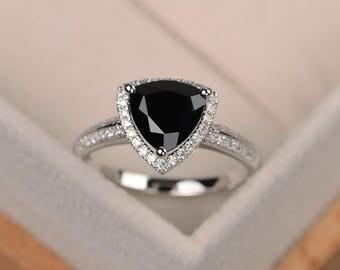 Black spinel ring, trillion cut black rings, gemstone ring black, sterling silver ring