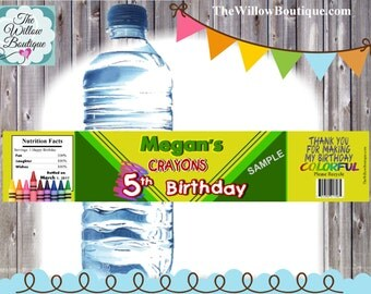 Personalized Crayon Water Bottle labels BIRTHDAY Favors Personalized with your childs name etc.