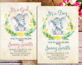elephant baby shower invitation, safari baby shower invitation, rustic baby shower invitation, elephant baby shower invite, for boy and girl