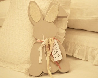 Handmade Wooden Bunny Rabbit With Vintage Fabric Ties Named Cotton Tail Free UK Delivery