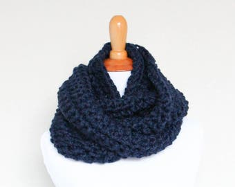 READY TO SHIP - Hand Knit Cowl, Chunky Knit Cowl, Chunky Knit Scarf, Long Loop Scarf, Navy - Argon Cowl
