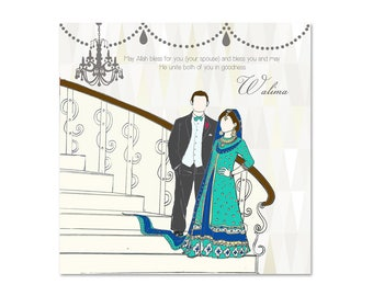 Islamic Bride & Groom Walima Card