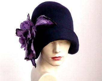 Navy blue Felted  Hat, felt hat ,Cloche Hat, 1920 Hat, Art hat, Navy blue Hat, Cloche Hat,1920's Hat, Women's hat felt hats felted hats