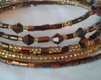 Bronze and Gold Cluster Clutch Bracelets - Set of 6