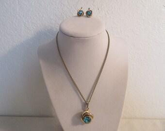 Vintage Stunning Large Aquamarine Necklace/Earring Set