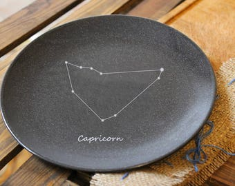 Ceramic plate,zodiac,personalized,Capricorn,dinnerware,space,custom gift,pottery dish,stoneware,black plate,constellation,