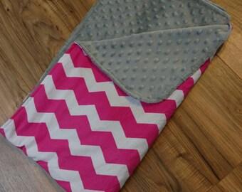 Pink Chevron Baby Blanket- crib bedding, baby shower gift for girl, minky baby blanket, baby bedding, baby nursery, pink and grey