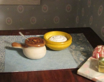 Miniature Dollhouse Baked Beans and Mashed Potatoes Vintage Item 1970 Realistic Food
