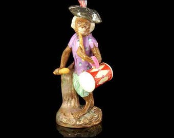 Antique German Porcelain Monkey Drum Musician Figurine