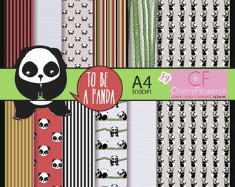 Panda Digital Paper printables digital paper A4 black white red green to be a Panda-reeds-leaves-rules-DIY scrapbooking invitations