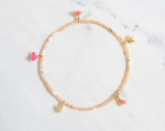 Peach Brights tiny tassel, delicate beaded friendship bracelet