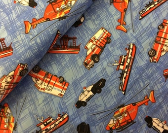 cop car- police car- blue lives matter - police - cotton - fabric - material - fabric - sewing -supply notion - bty - 1 yard