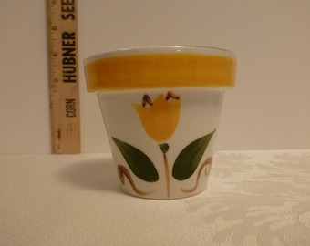 Stangl Single Tulip 3'' Flower Pot With Yellow Band #3661