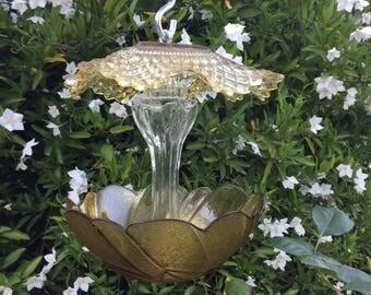 Bird Feeder, Vintage Glass, Garden Decor