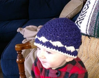 Crocheted Boys Blue and White Beanie 6-9 months