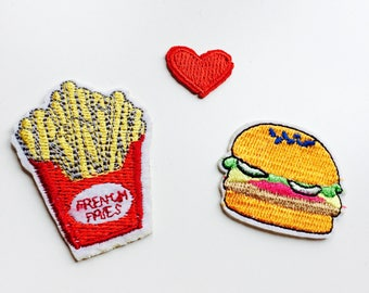 Patches   Patch   Set   Hipster   Trendy   Emo   DIY   Fashion   Burger   Fries   Cute   Kawaii   Fast Food   Retro