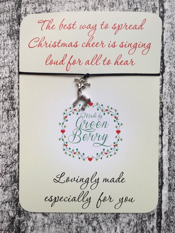 "Christmas Reindeer Charm Black String Bracelet on ""The Best Way to Spread Christmas Cheer"" quote card madebygreenberry wish bracelet elf"