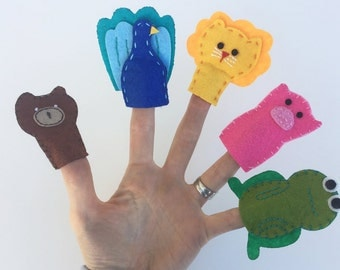 Handmade Finger puppets - set of 7
