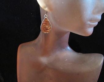 Vintage Pair Of Brown Enameled Pierced Dangle Earrings