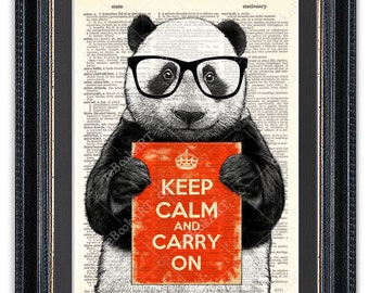 Panda with Sign, Dictionary Art Print, Panda Art Print, Panda Decor, Keep Calm, Panda Wall Art, Keep Calm Art