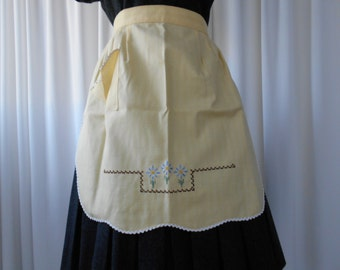 Vintage Yellow Half Apron with Embroidered Floral Motif 1960's  #20071