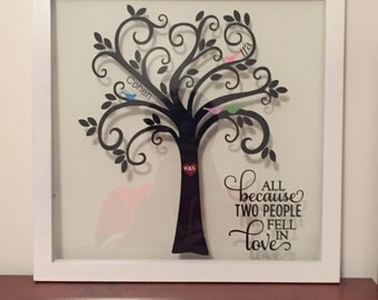 Floating, 11x14, Family Tree Frame Perfect Wedding, Anniversary, Shower, Engagement, Housewarming, birthday, mothers's day, christmas