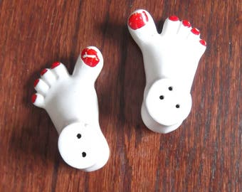 Vintage Feet Salt & Pepper Shakers - white with red painted toenails - Made in Japan