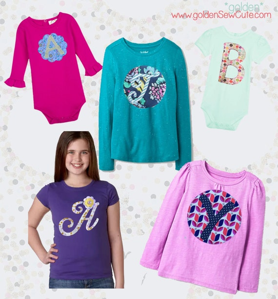 CYBER MONDAY SALE!  Applique Girl Tee, Girl Shirt, Baby Onesie, Baby Gown, Custom, Personalized, Initial, Circle, Flower