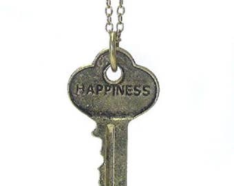 Vintage key pendant necklace - happiness- 22 inch chain