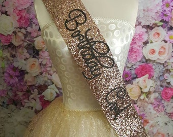 GOLD Sweet 16 Birthday Sash -  gold glitter handmade sparkle birthday party decoration / quirky accessories 16th 21st 30th
