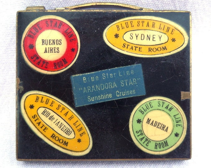 "FREE SHIPPING Powder Compact, Blue Star Line 'Arandora Star' Sunshine Cruises, Navy Blue Enamel, Bevelled Glass, 2.75"" x 2.5"", Loose Powder"