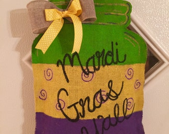 Mardi Gras door hanger/mason jar wreath