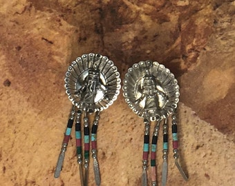 Sterling Silver Kachina Navajo Post Earrings