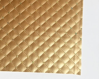 Metallic Gold Quilted with Sequins Vegan Faux Leather