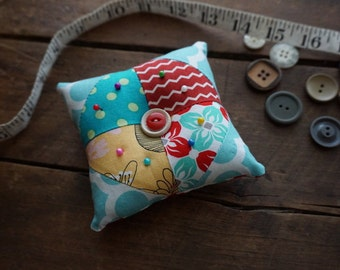 Fabric Quilted Pincushion in Aqua, Red and Yellow vintage look prints with Vintage Button Trim, Sewing Gift, Seamstress Gift