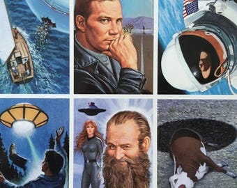 UFO Trading Cards, Uncut Sheet of 50 Trading Cards,  Dark Horse Comics, E Silas Smith, Signed by Artist,  Project Blue Book, Roswell