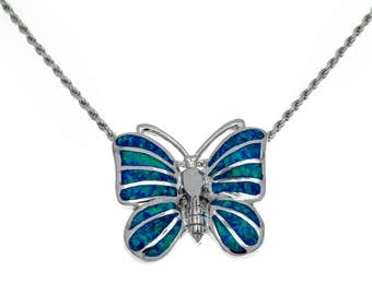 silver butterfly pendant with blue opal,butterfly necklace,butterfly jewelry,blue opal pendant,silver butterfly Jewelry,statement pendant