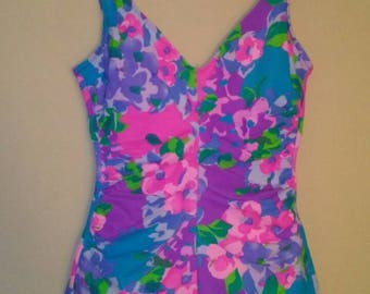 Ruched Bright Floral One Piece by Sandcastle