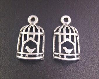 30pcs Antique Silver Birdcage Bird Charms Pendant A2145