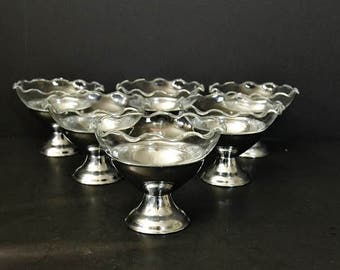 Silver Aluminum and Glass Sherbet Cups